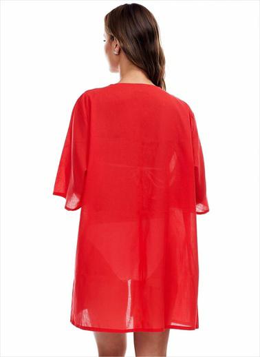 Ayyıldız Plaj Elbisesi Kırmızı